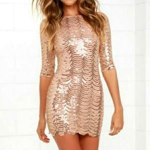Lulus Stardust Gold Sequin Bodycon Dress